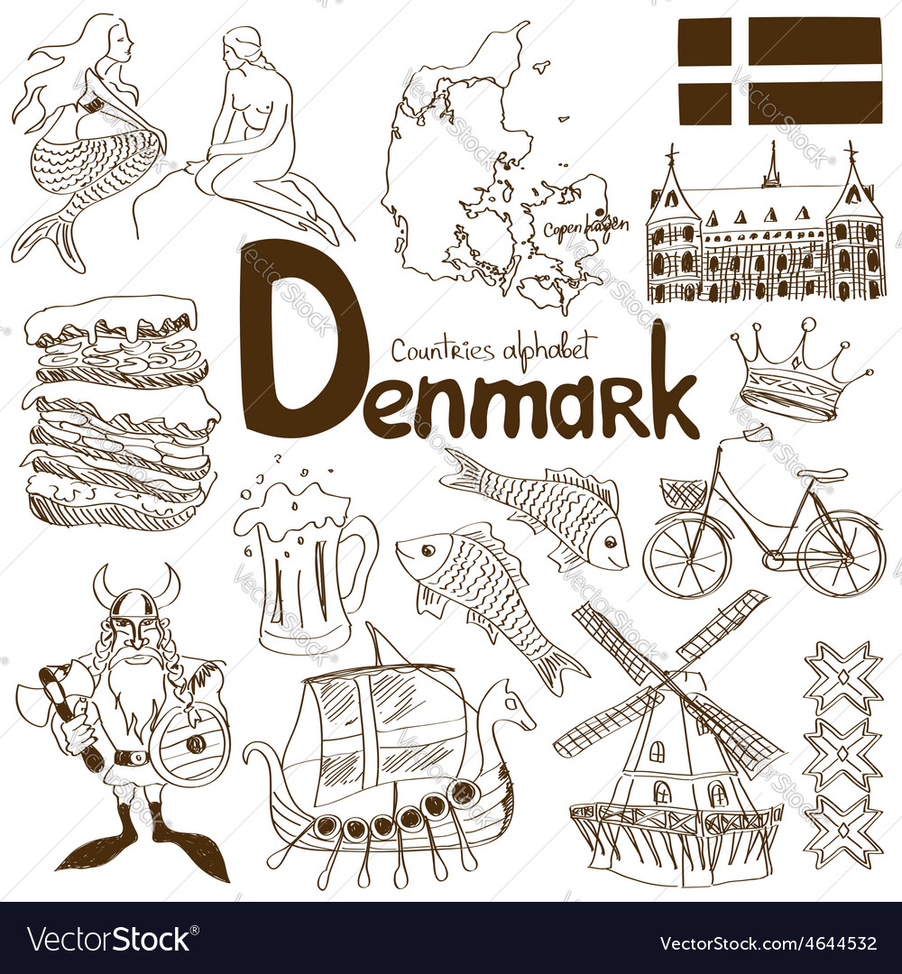 Collection of denmark icons vector