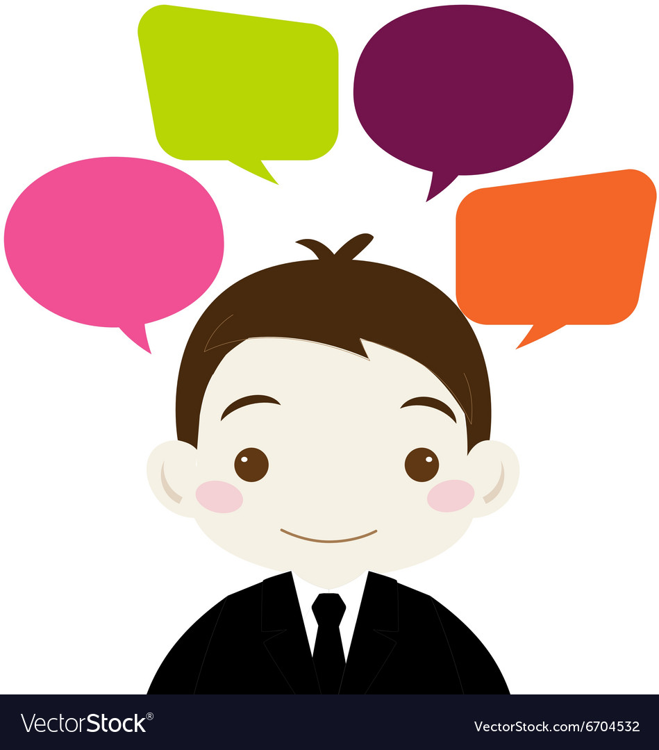 Cute businessman with colorful blank speech bubble vector