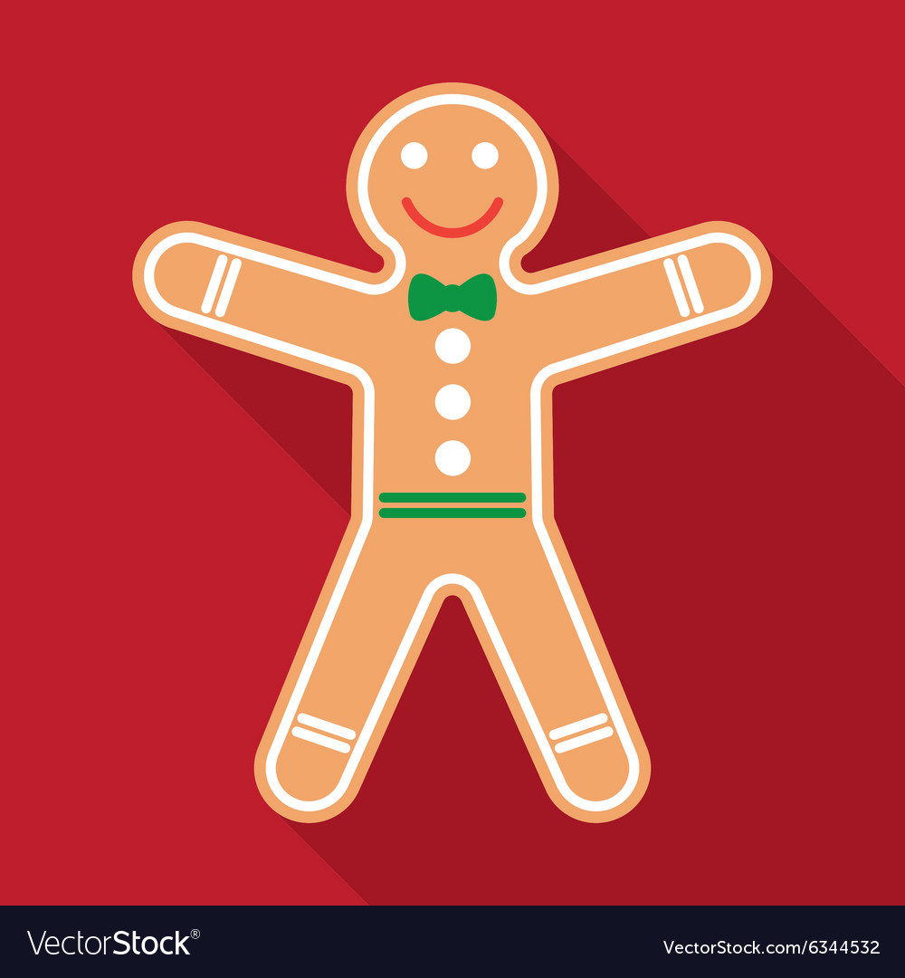 Gingerbread in flat style with long shadows vector