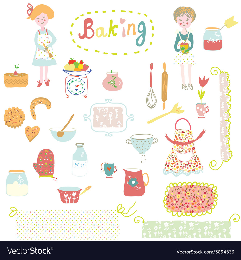 Baking design elements  cute and funny vector