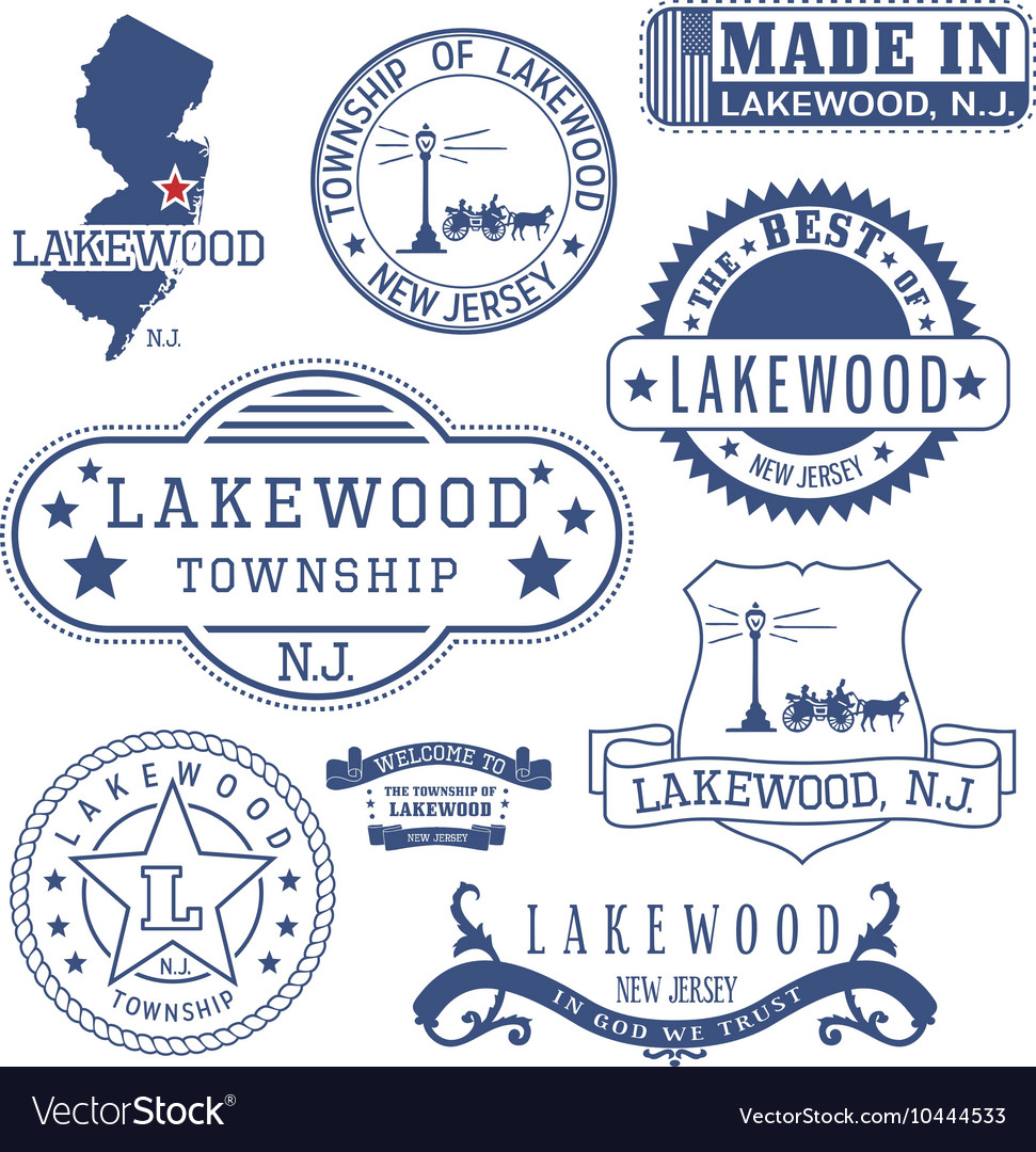 Lakewood township new jersey stamps and seals vector