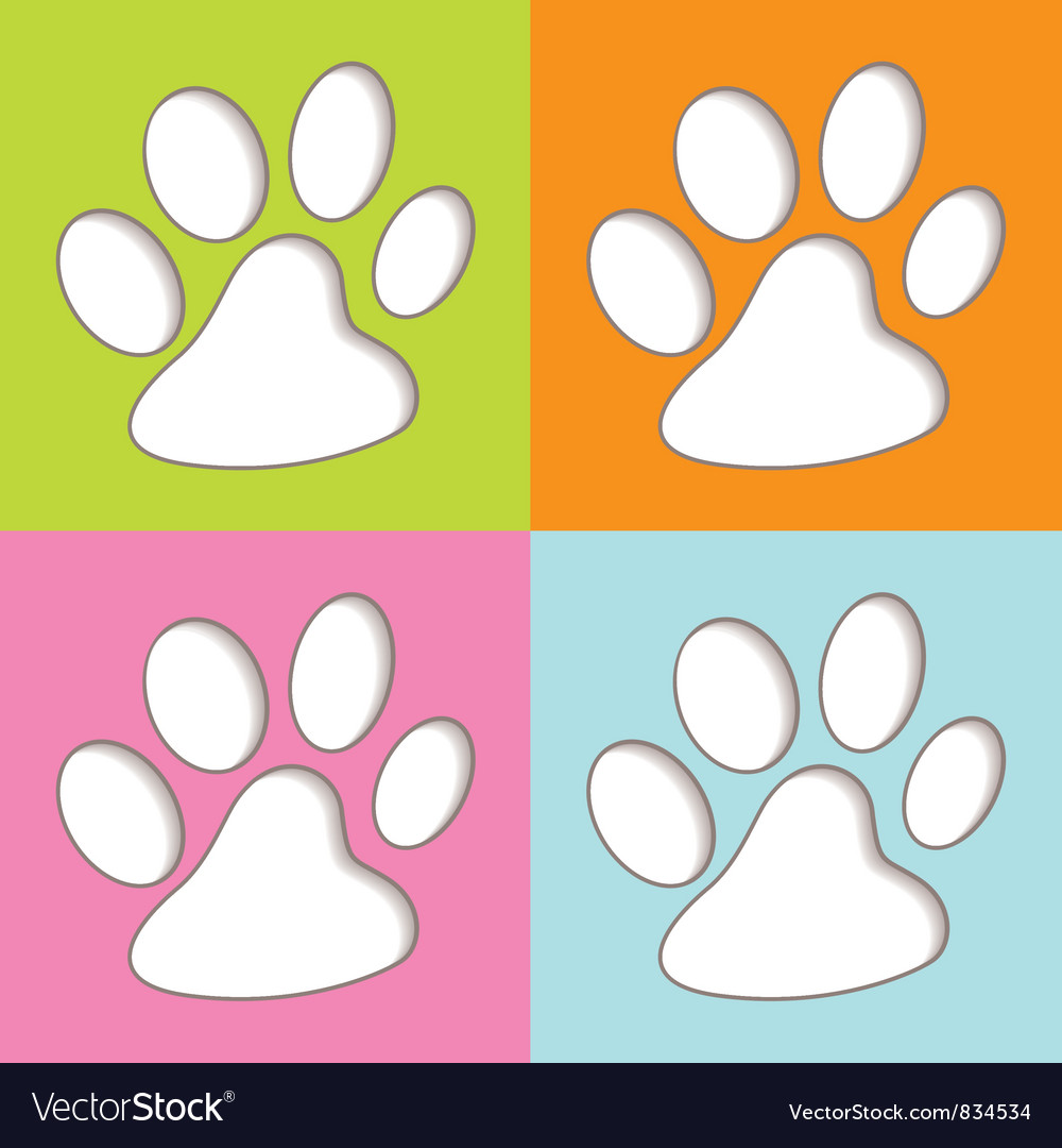 Animal paw colourful vector