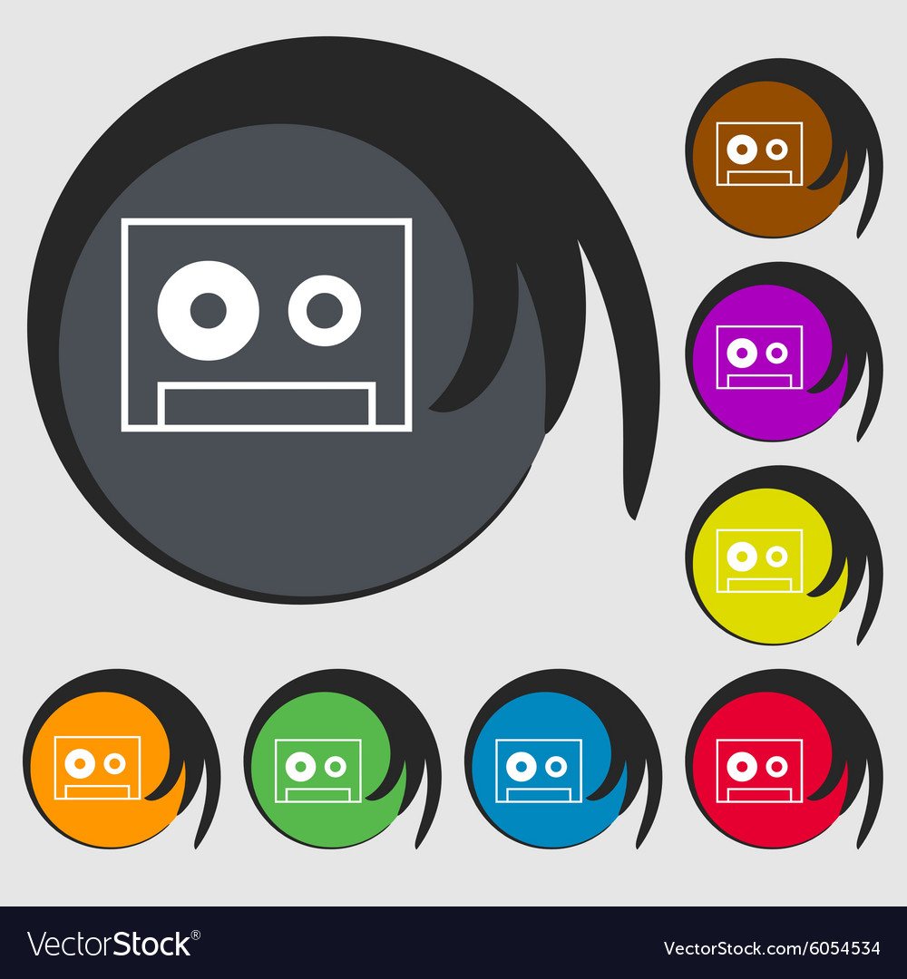 Cassette sign icon audiocassette symbol symbols on vector