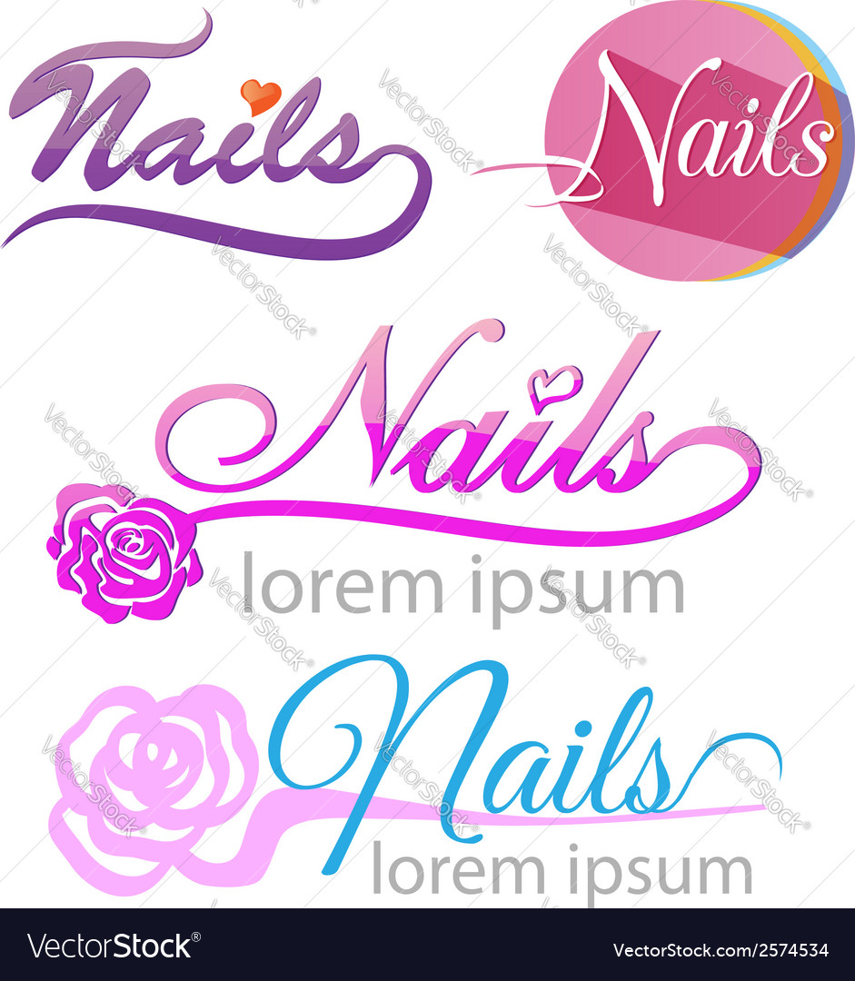 Nails saloon symbol set vector