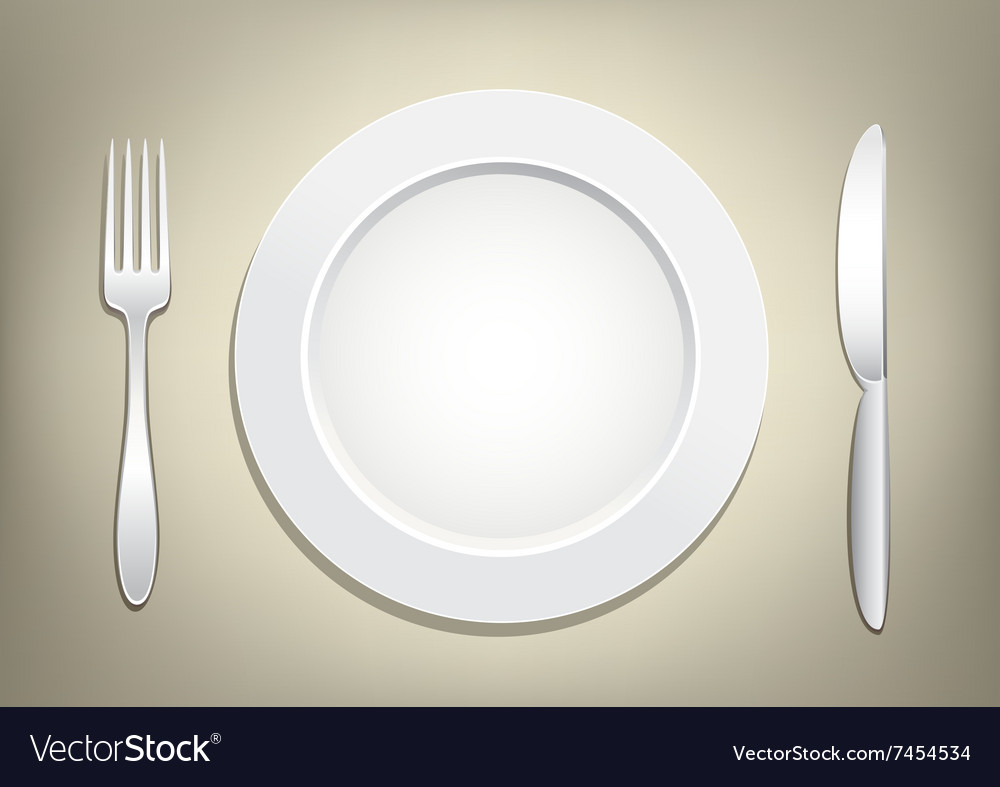 Plate fork knife vector