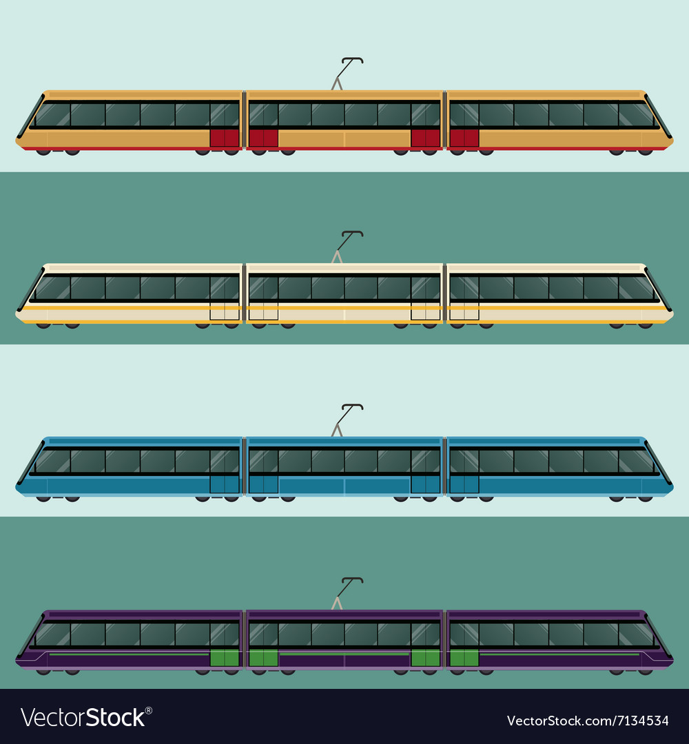 Set of tramtrains vector