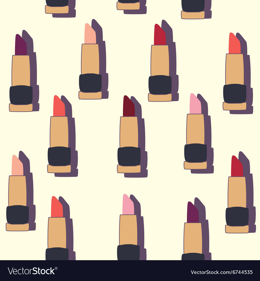 Seamless patterns with flat lipsticks vector