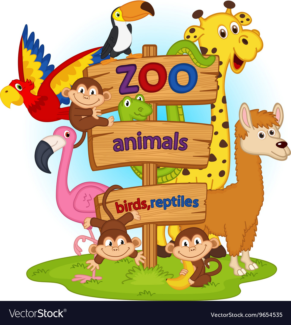 Zoo animals near wooden sign vector