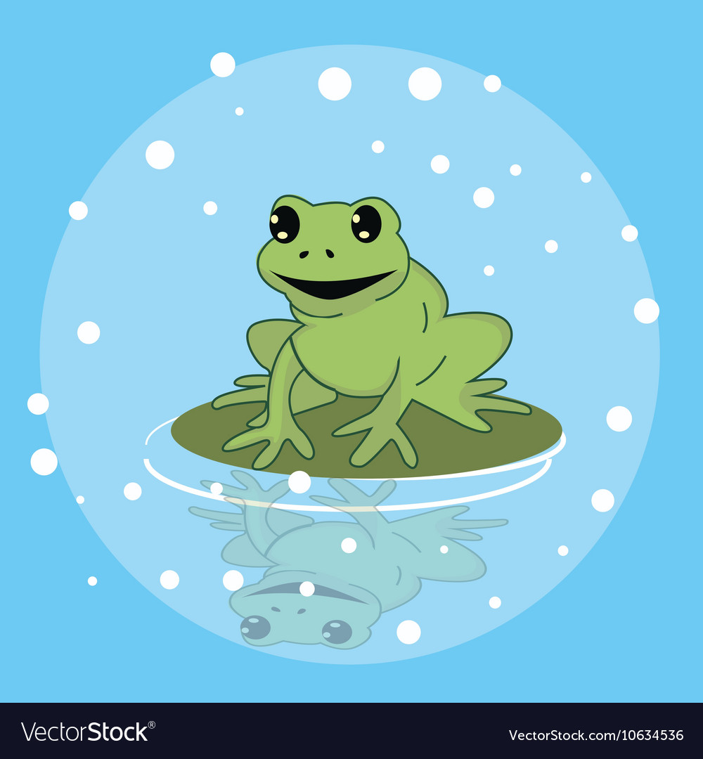 Frog smile character above leaf in pond funny cute vector