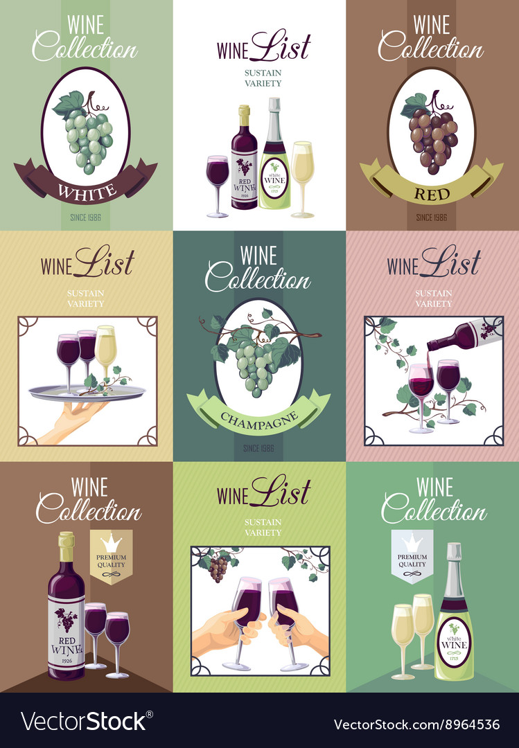 Set of wine menu poster vector
