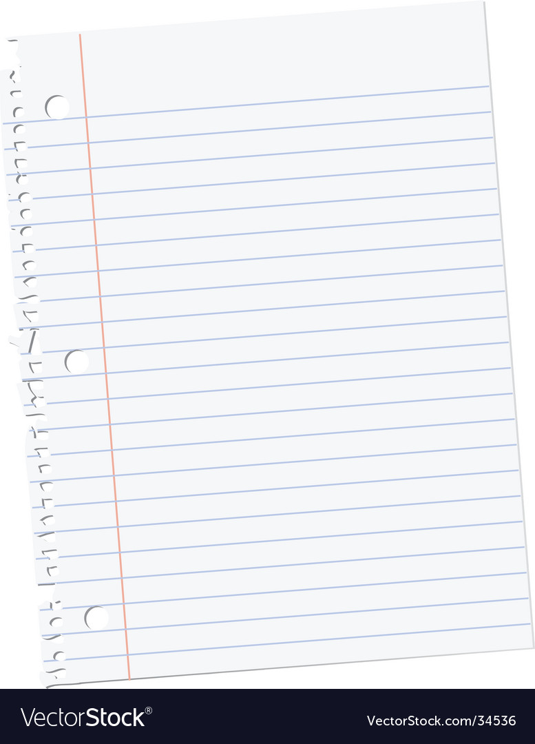 Sheet of notebook paper vector