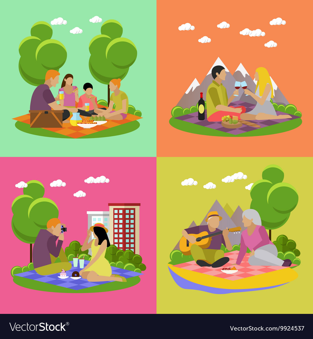 Summer recreation family vector
