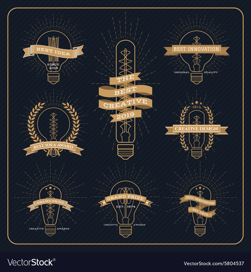 Vintage bulb creative and idea award label with vector