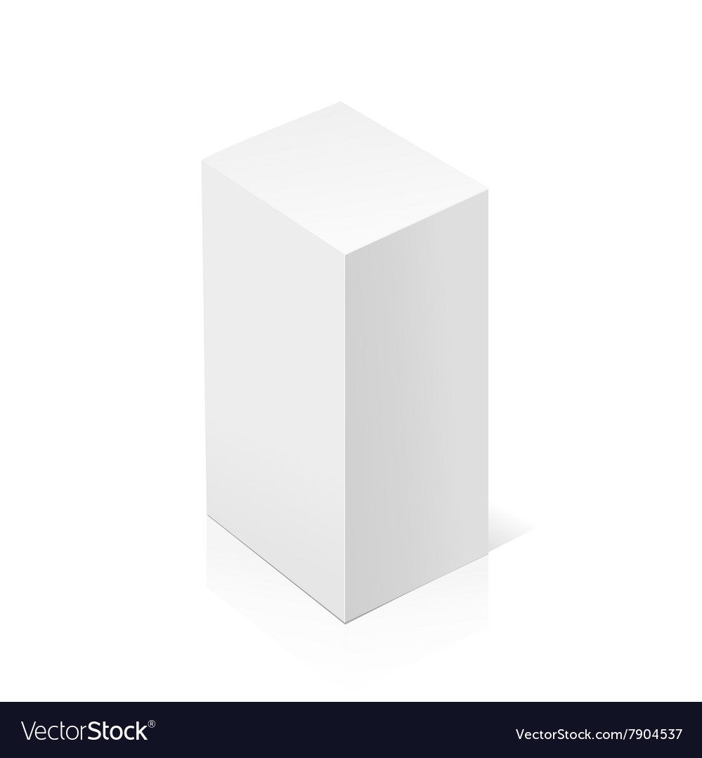 White realistic 3d rectangle vector