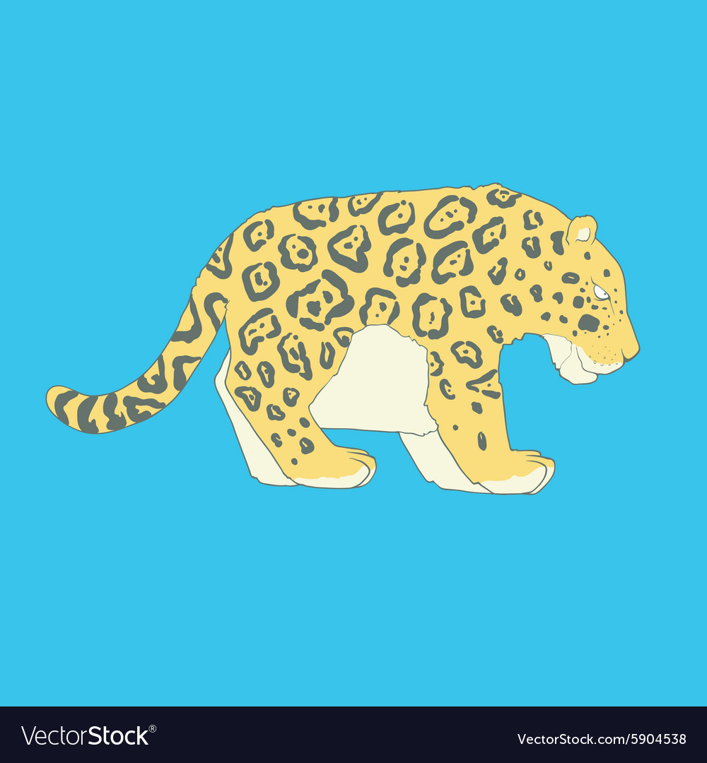 Flat hand drawn icon of a cute jaguar vector