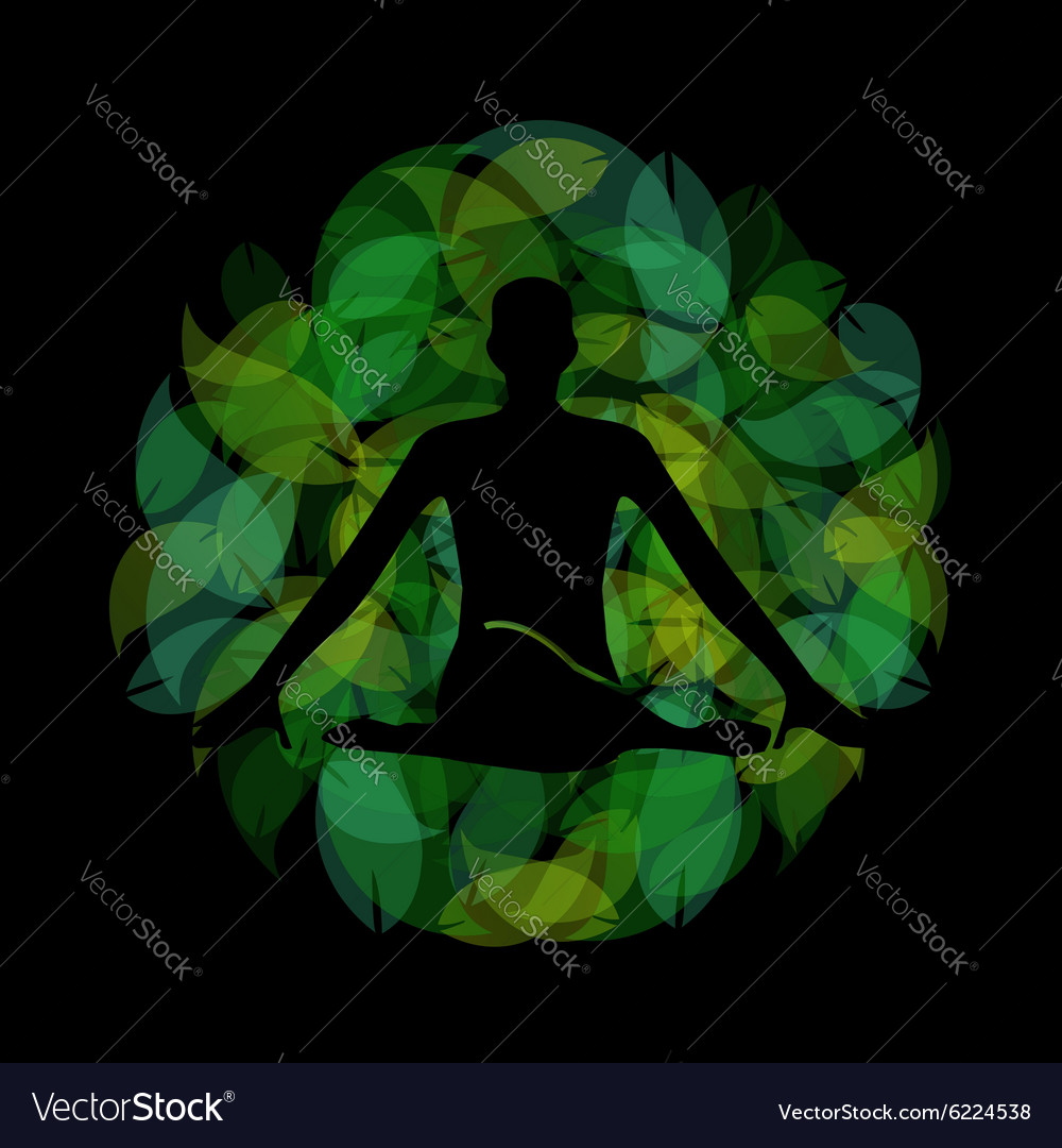 Silhouette of a meditating person vector