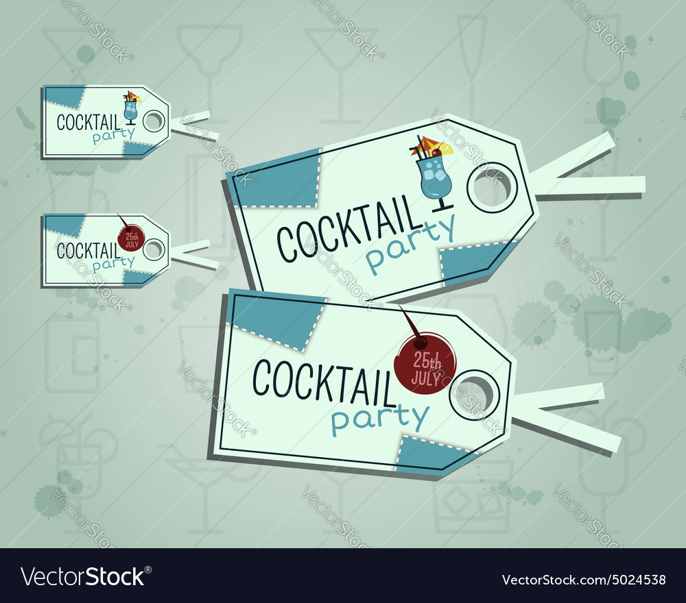 Summer cocktail party sticker and label layout vector