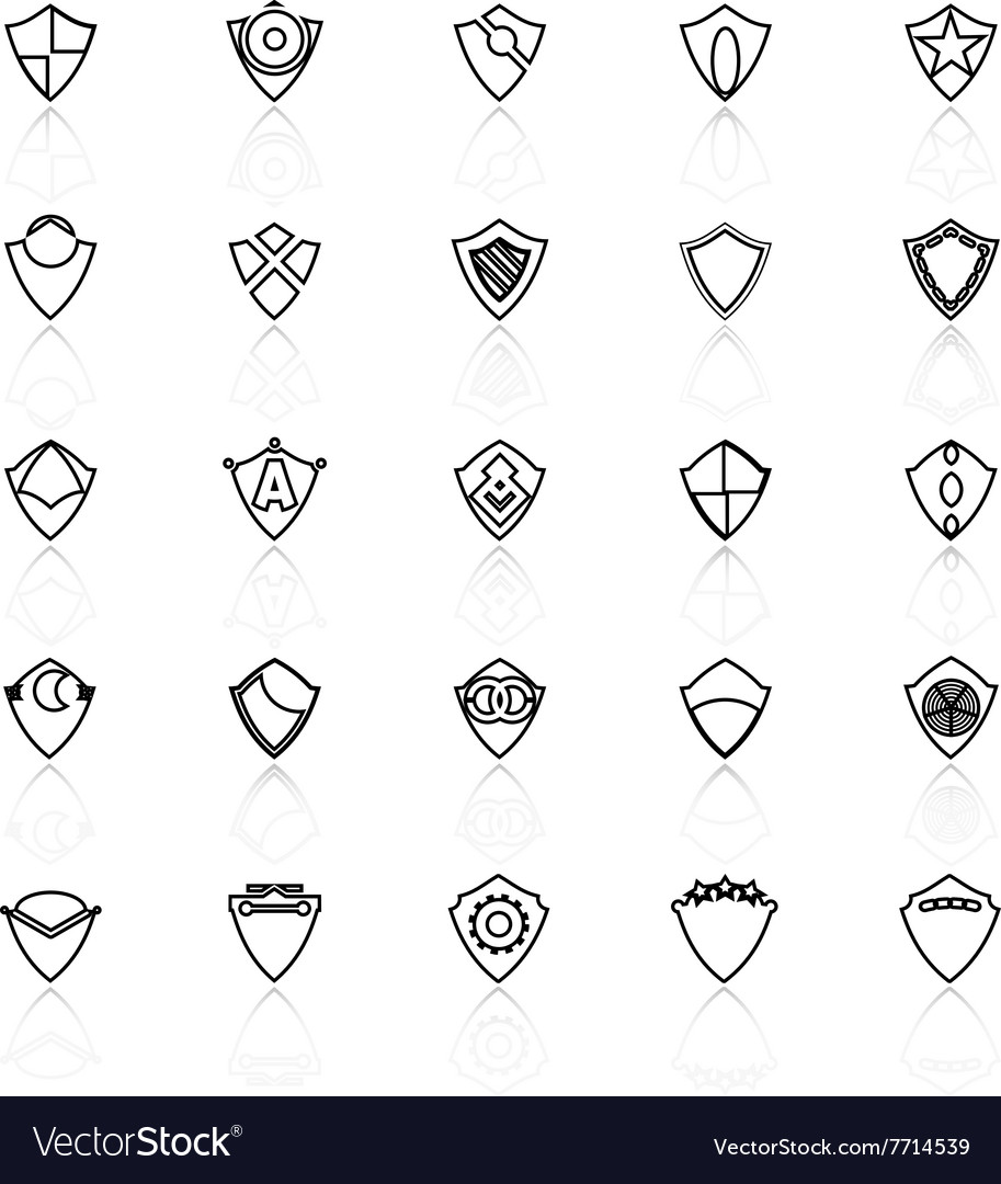 Design shield line icons with reflect on white vector