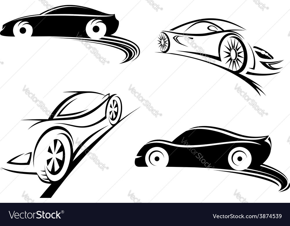 Sports racing car black silhouettes vector