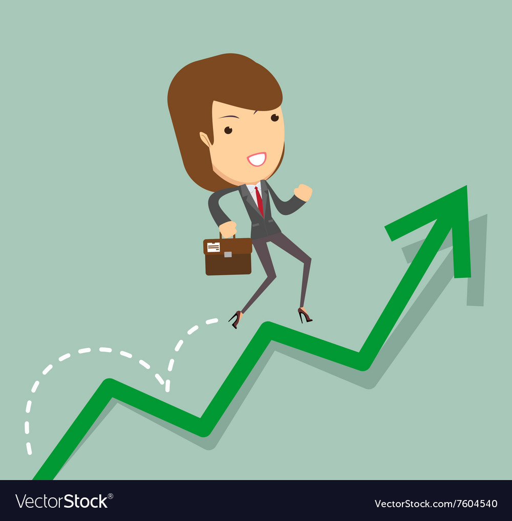 Business woman jump over growing chart vector