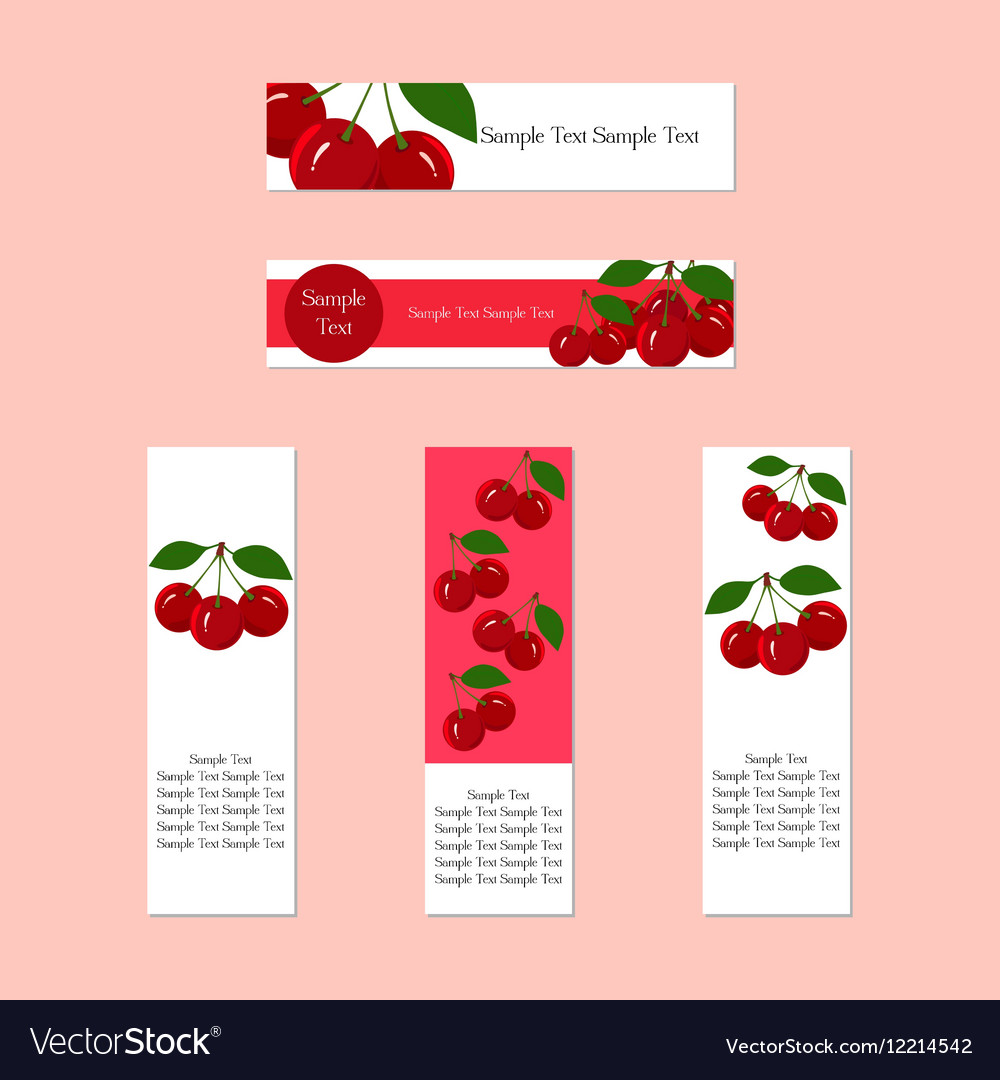 Banners with juicy ripe cherry fruit for companies vector