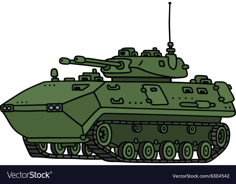 Green track armoured vehicle vector
