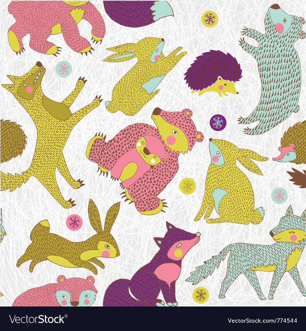Animals and forest paper art vector