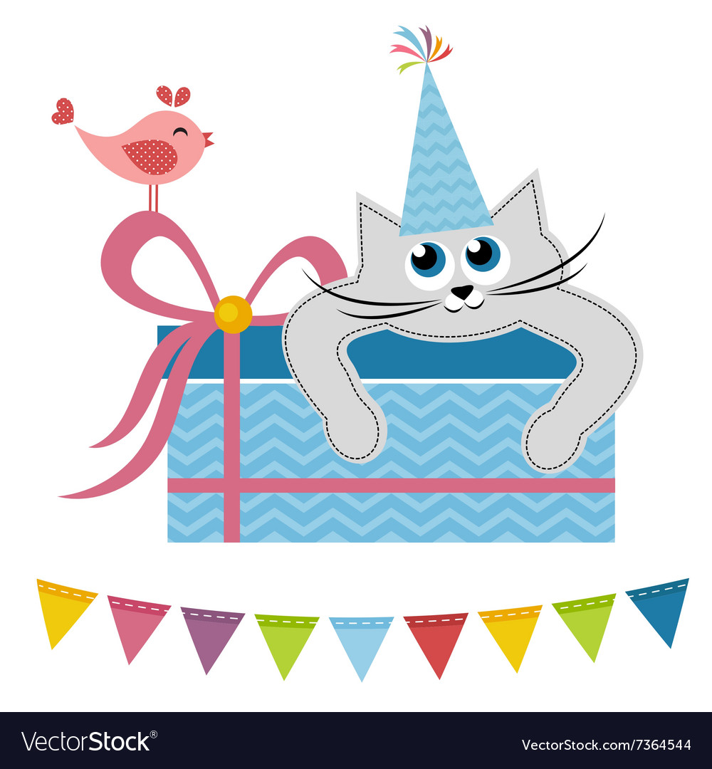Cat and bird with gift vector