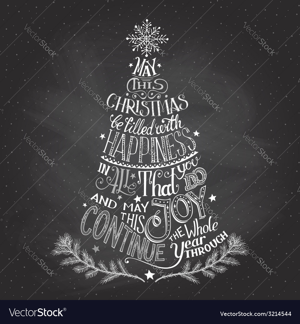 Christmas tree handlettering with chalk vector