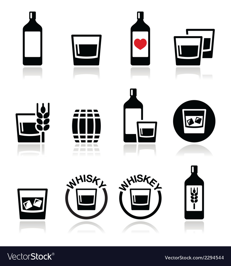 Whisky or whiskey alcohol icons set vector