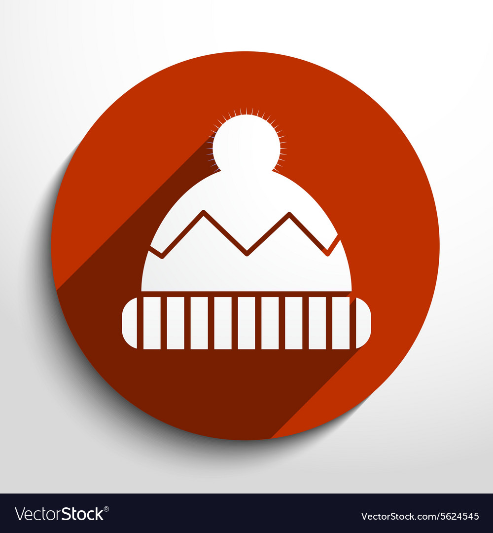 Winter cap web flat icon vector