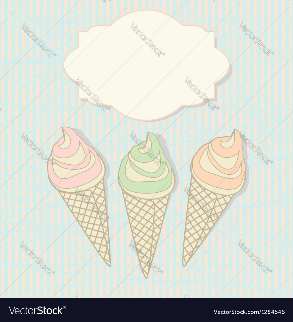 Three icecream cones with a blank label vector