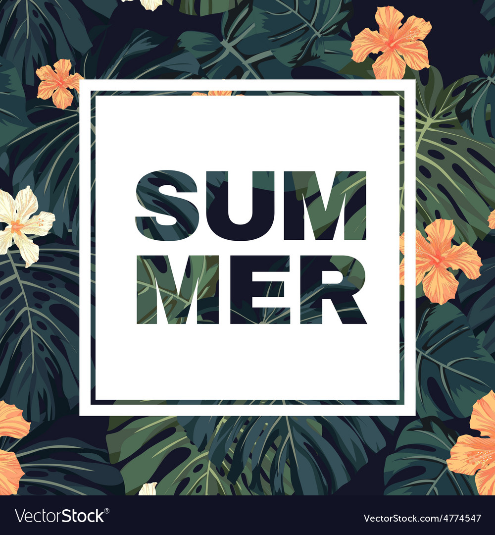 Bright colorful tropical summer poster with leaves vector