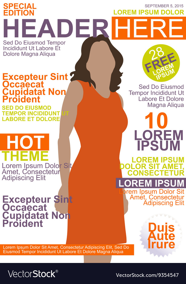 Magazine template vector