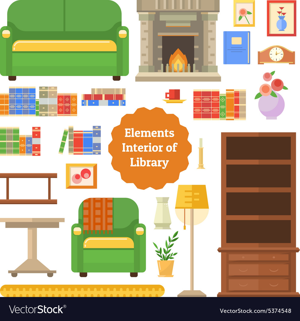 Elements of the interior library or cabinet vector