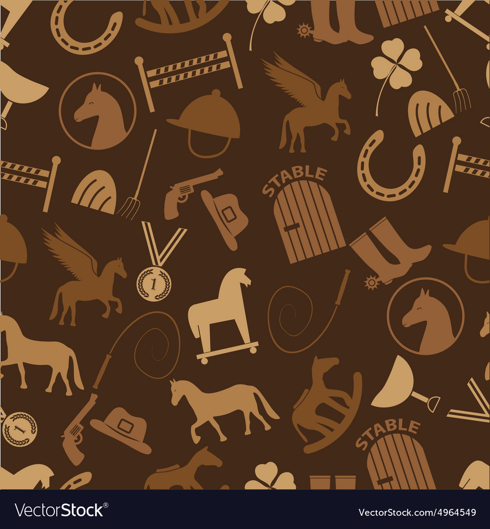Brown horse theme icons seamless pattern eps10 vector