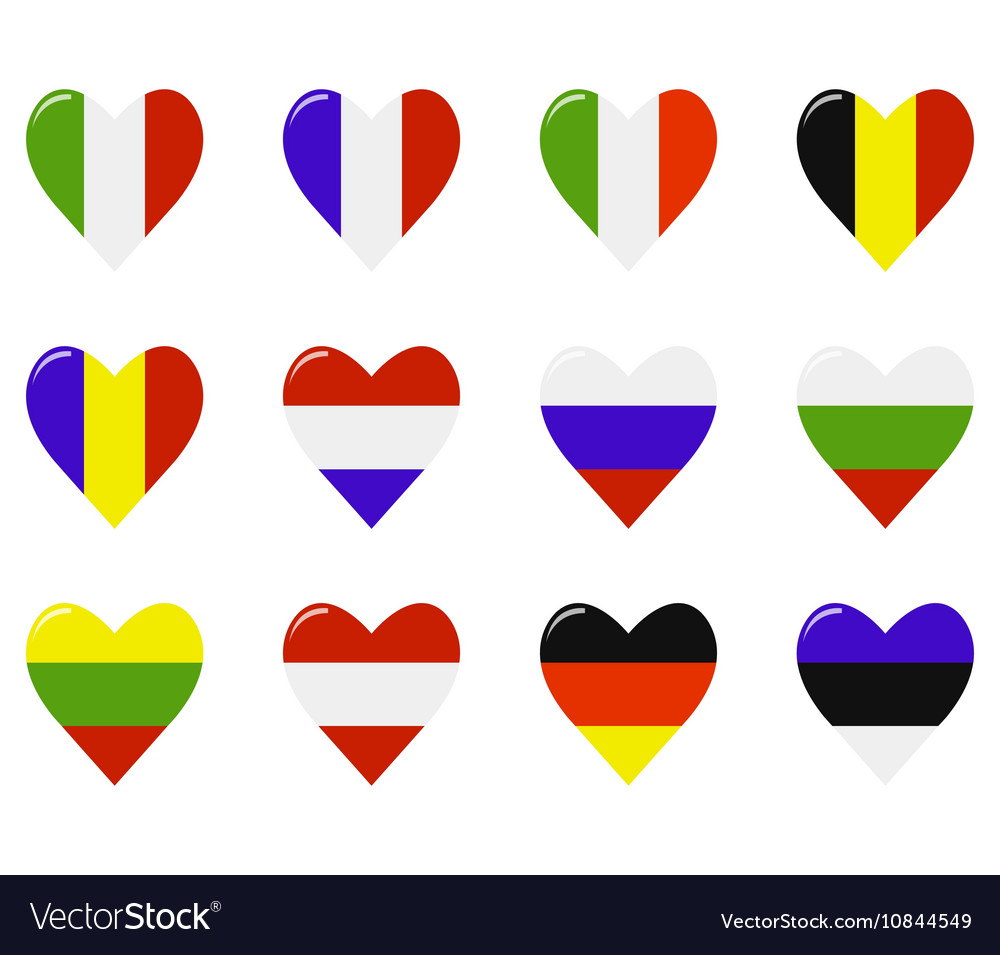 European flags in a heart shape vector