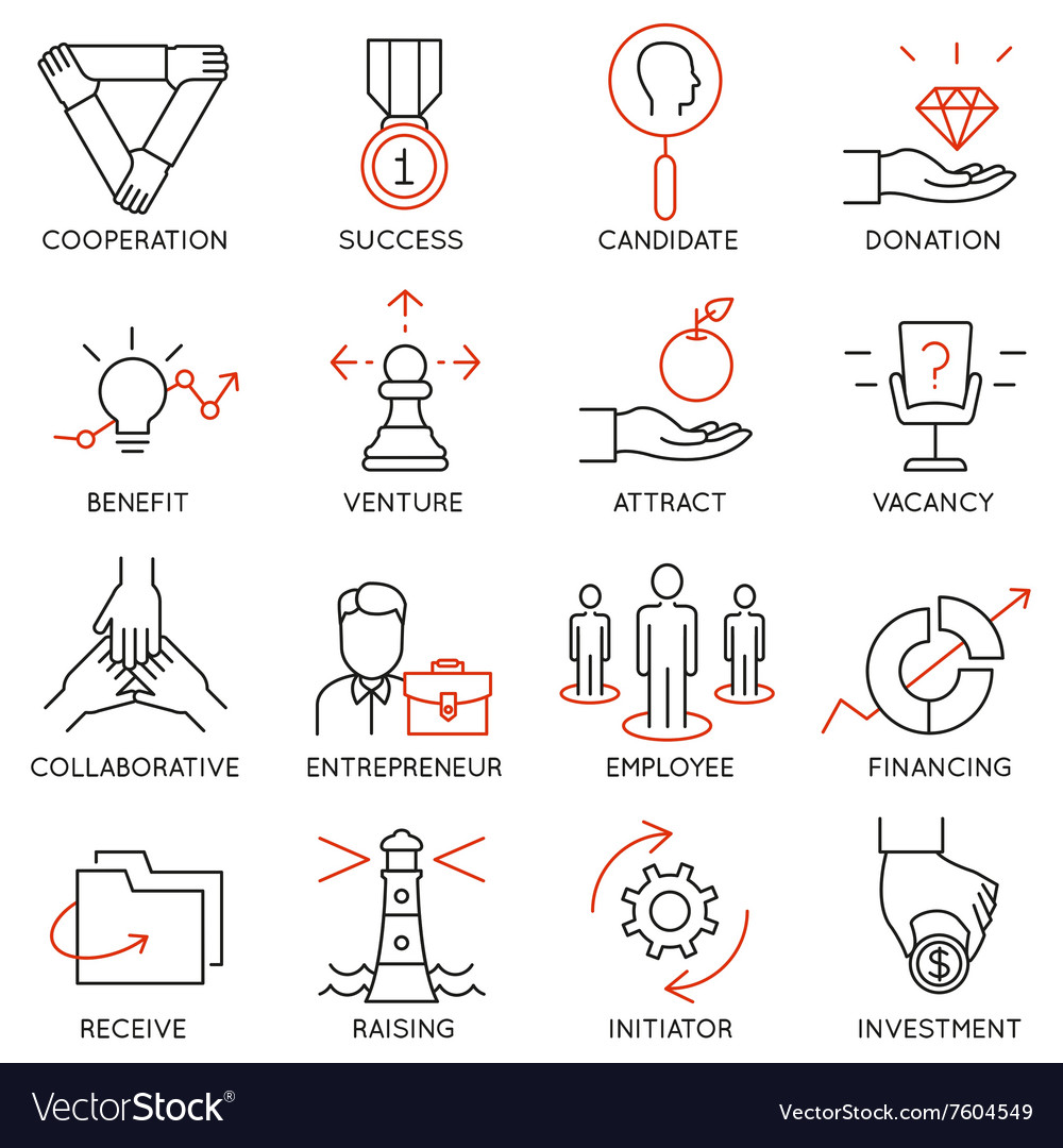 Set of icons related to business management  30 vector