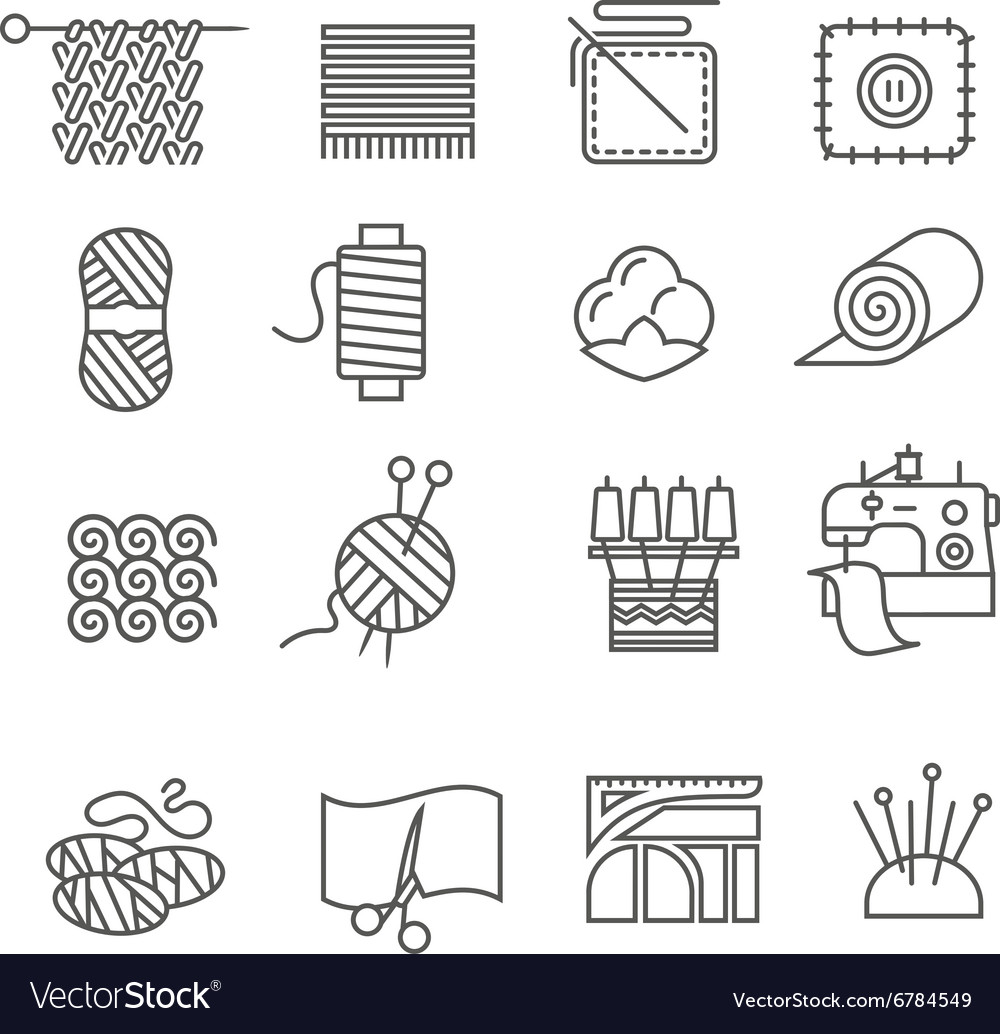 Textile industry icons set vector