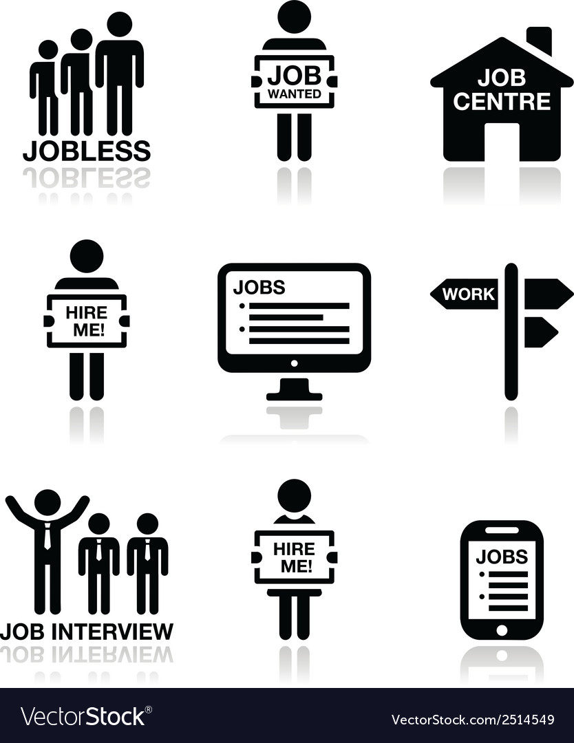 Unemployment job searches icons set vector