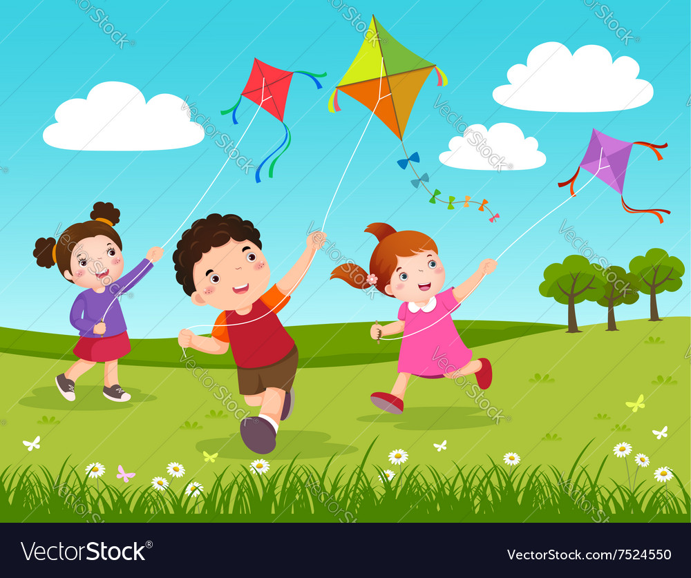 Three kids flying kites in the park vector