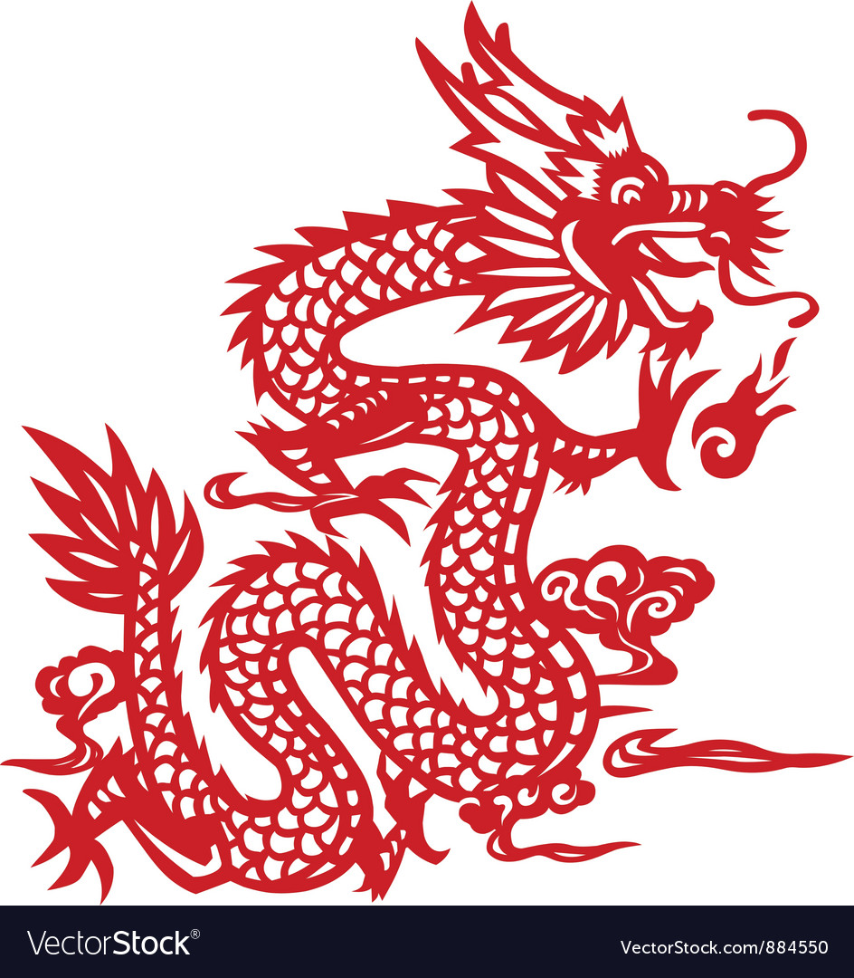 Traditional chinese dragon papercut art vector