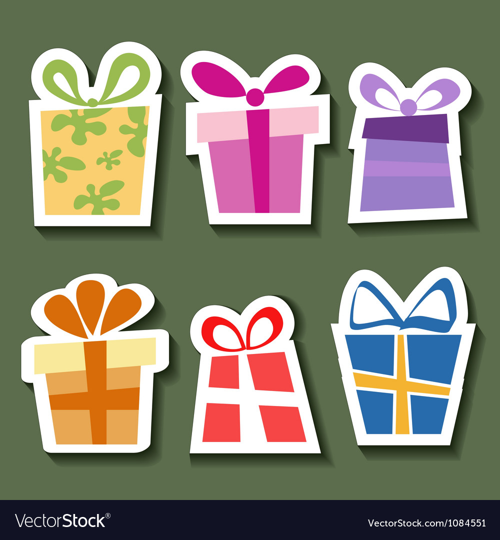 Abstract gift sticker set vector
