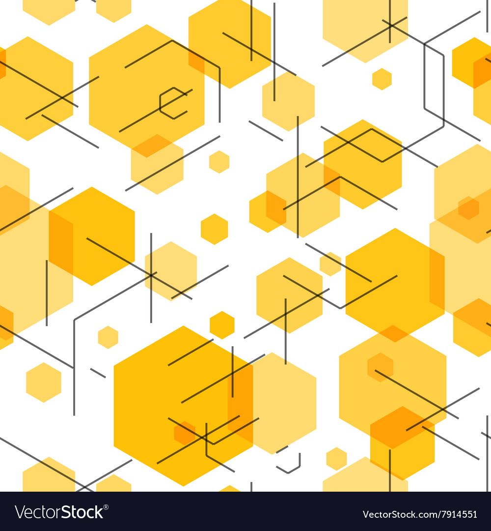 Hexagon seamless tech pattern vector