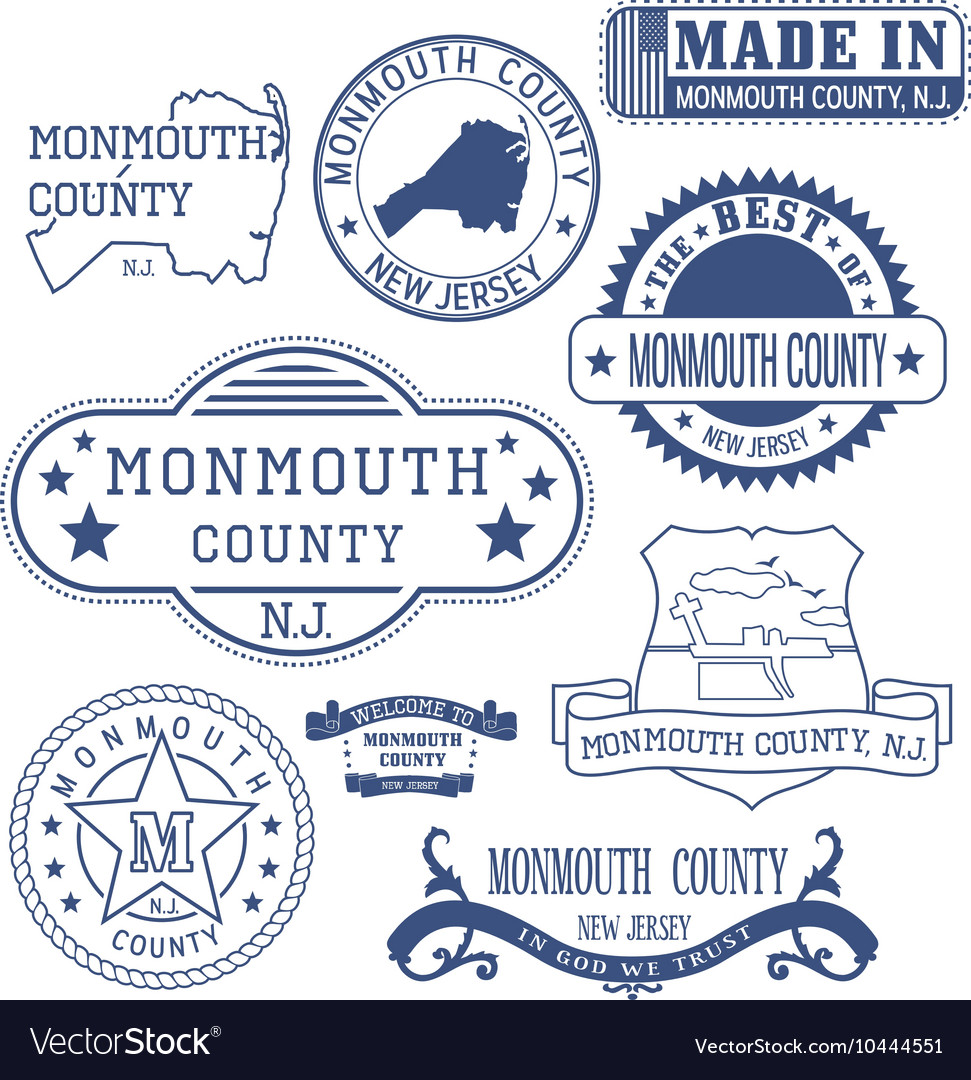 Monmouth county new jersey stamps and seals vector