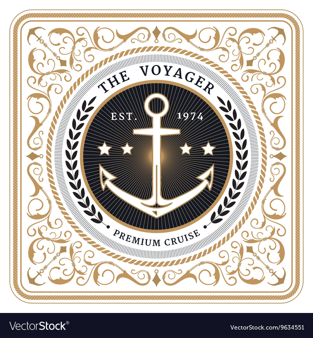 Nautical the voyager retro white card vector