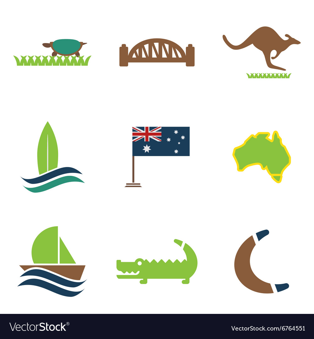 Set of flat icons on white background australian vector