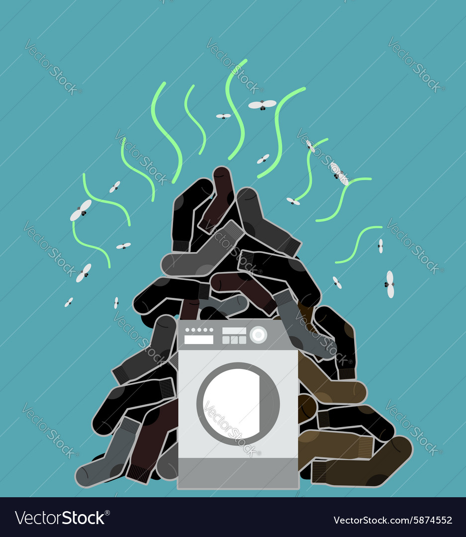 Big pile of dirty and smelly socks washing machine vector