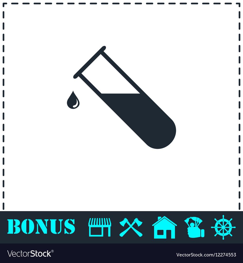 Test tube icon flat vector