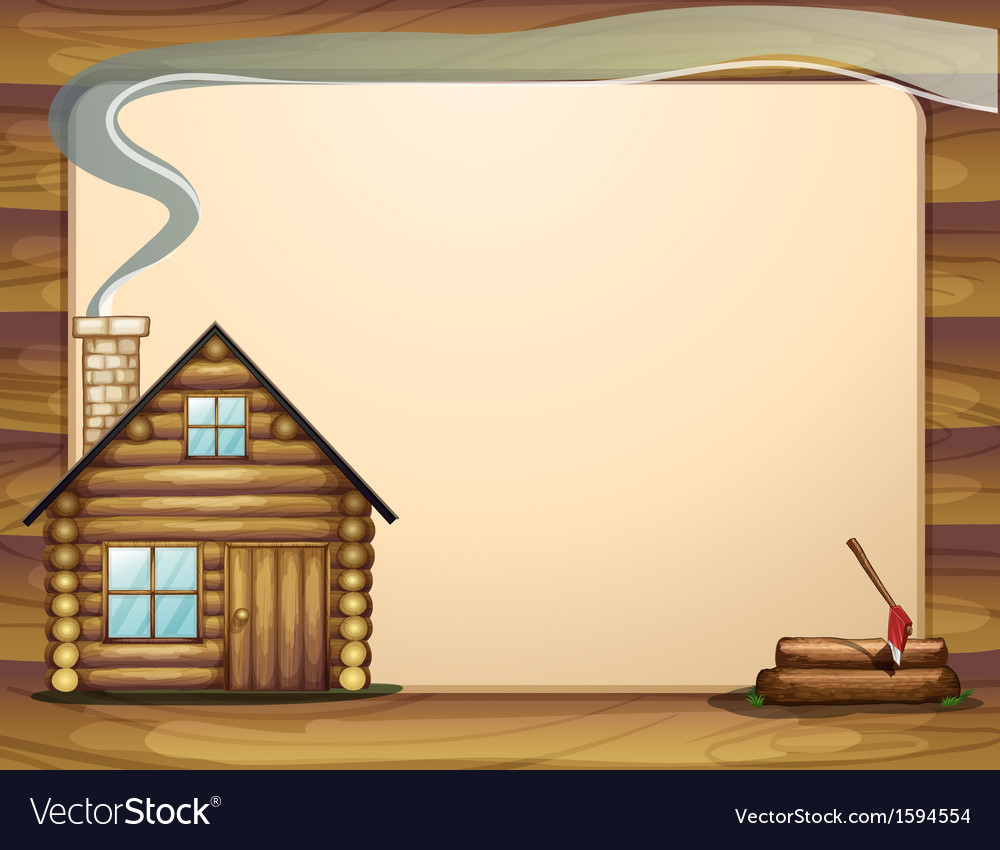An empty template with a wooden house vector